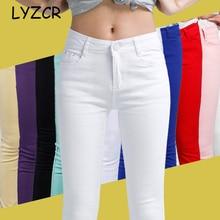 Denim Skinny White Women's Stretch Jeans Female 2019 Candy Color Cotton Jeans for Women Denim Pencil Jeans Pants Ladies Trousers цена в Москве и Питере