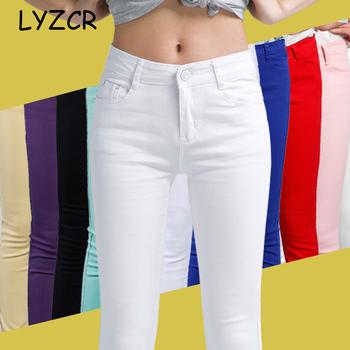 Denim Skinny White damskie jeansy ze streczem damskie 2019 bawełna w cukierkowym kolorze dżinsy damskie spodnie jeansowe dżinsy rurki spodnie damskie tanie i dobre opinie LYZCR Pełnej długości COTTON Poliester Elastan Na co dzień LJ318 Zmiękczania Ołówek spodnie light Kobiety Myte Zipper fly