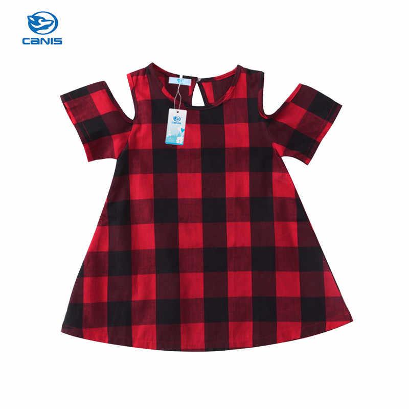0cc8eb4cd705 Detail Feedback Questions about Summer Christmas Girls Cotton Plaid Retro  Dress Off shoulder Sexy Euramerican Vintage A line Dress Evening Party Kids  ...