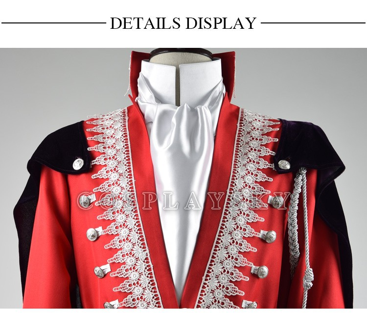Once Upon a Time Prince Charming Red Uniform Outfit With Cloak Cosplay Costume_03