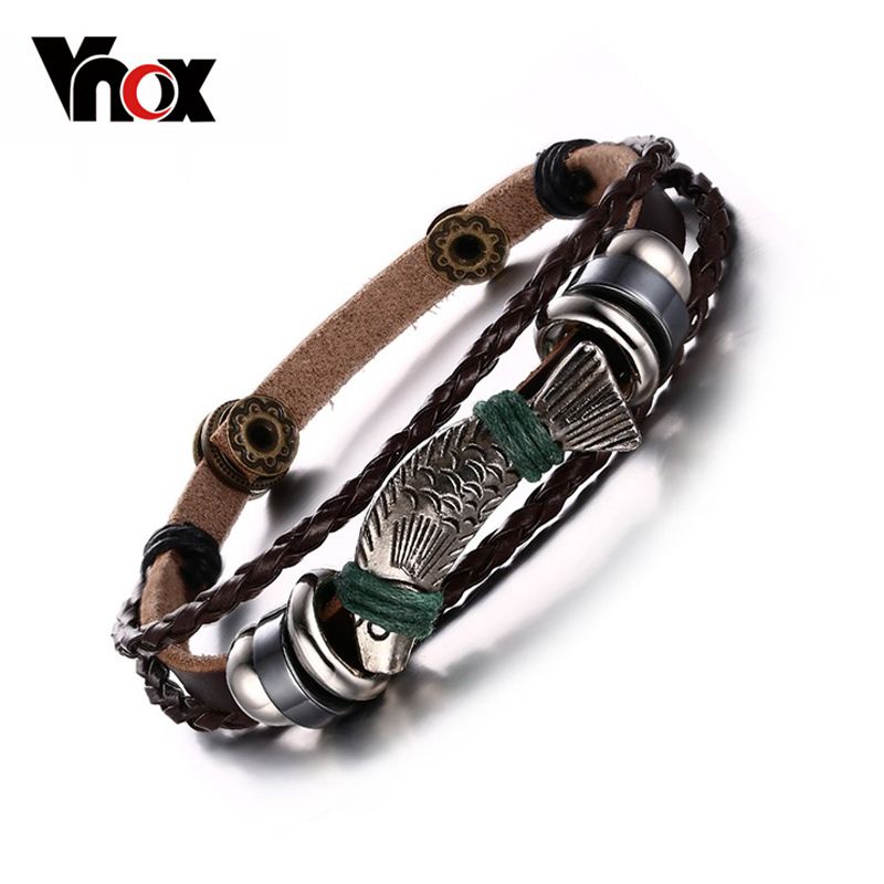 Vnox new 22cm length charm leather rope bracelets for men jewelry men leather bracelets&bangles fish pattern magic fish bracelets