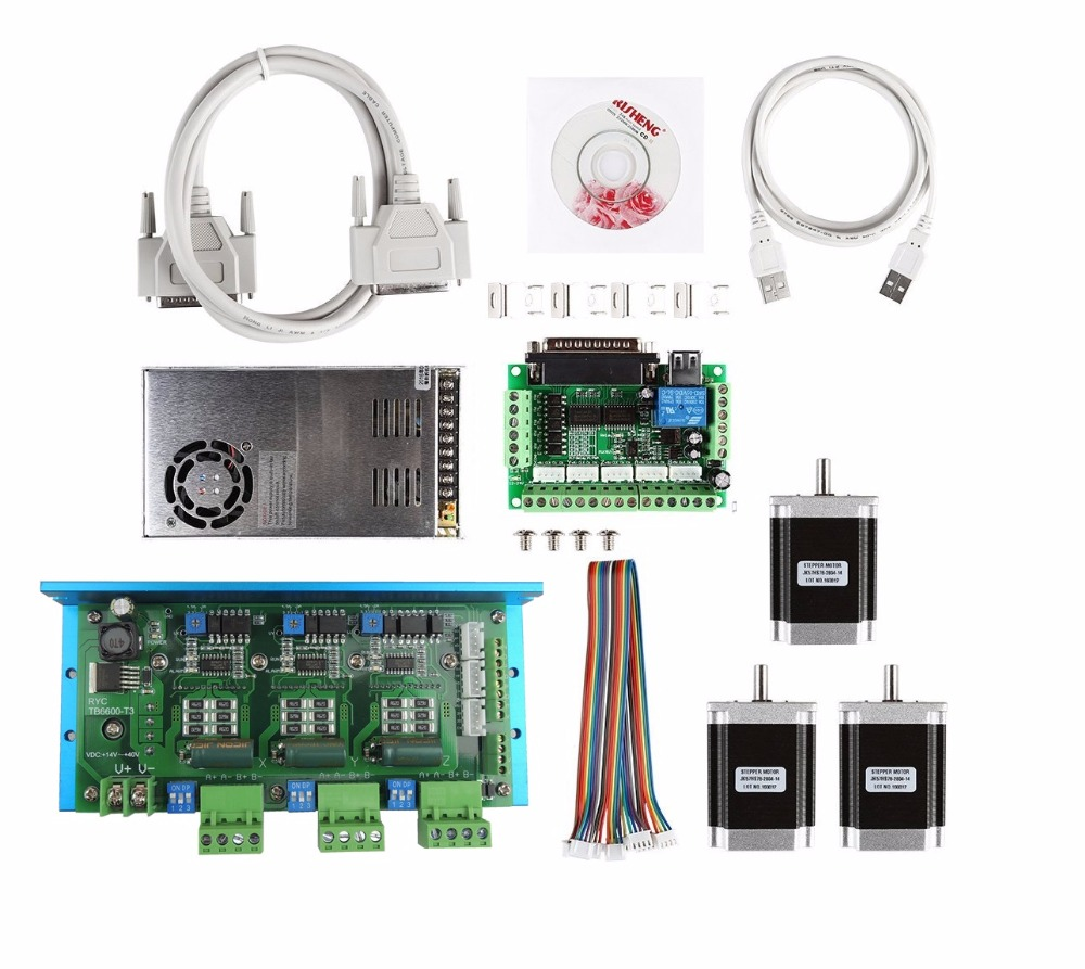 CNC Router 3 Axis Kit, TB6600 3 Axis stepper motor driver+mach3 5 axis breakout board + 3pcs nema23 270oz-in motor+power supply цена