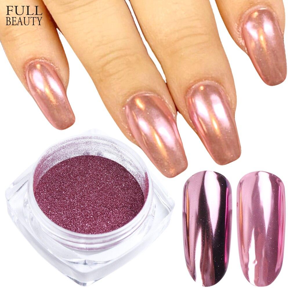 0,5 Gr/schachtel Rosa Rose Gold Spiegel Nagel Glitter Pulver Metallic Glänzende Chrom Staub Pigment Tauch Nagel Pulver Dekoration Chc/ Asx-1