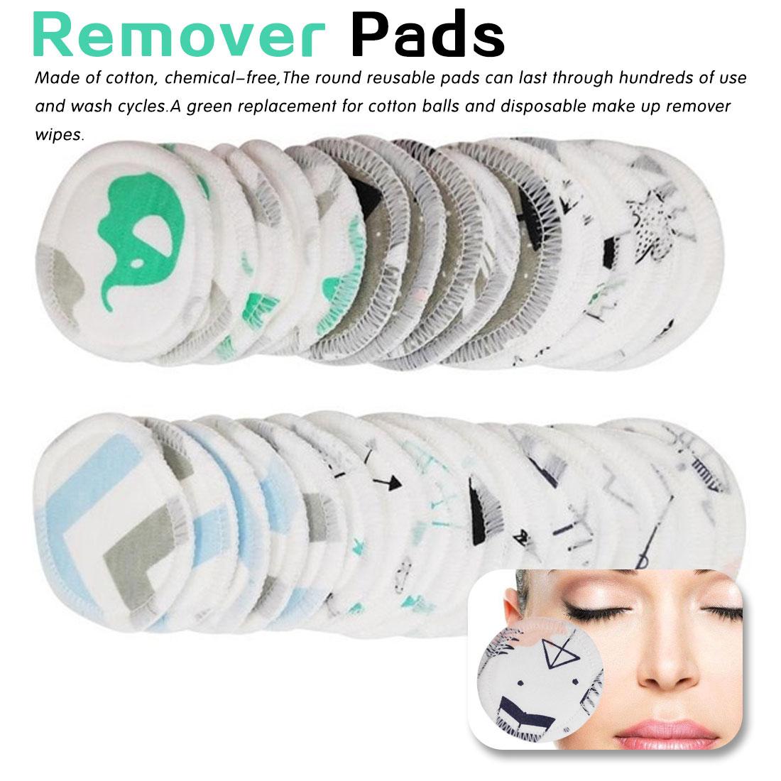 Cuidados Da Pele Facial 12Pcs Dos Desenhos Animados Almofada de Algodão Removedor de Maquiagem Facial de Dupla camada Limpar Almofadas Reutilizáveis Lavável Com Saco de Roupa Suja