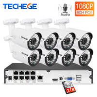 Techege 8CH 1080P CCTV System Audio Record 2MP PoE kit IP Kamera 3000TVL Metall Wasserdichte Nachtsicht Sicherheit Kamera system