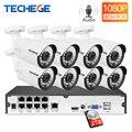 Techege 8CH 1080P система видеонаблюдения Аудио запись 2MP PoE Комплект ip-камера 3000TVL металлическая Водонепроницаемая камера ночного видения система ...