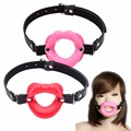New Sex Toys for Women Fetish Leather Rubber Lips O Ring Open Mouth Gag Bondage Restraints BDSM Sex Erotic Toy