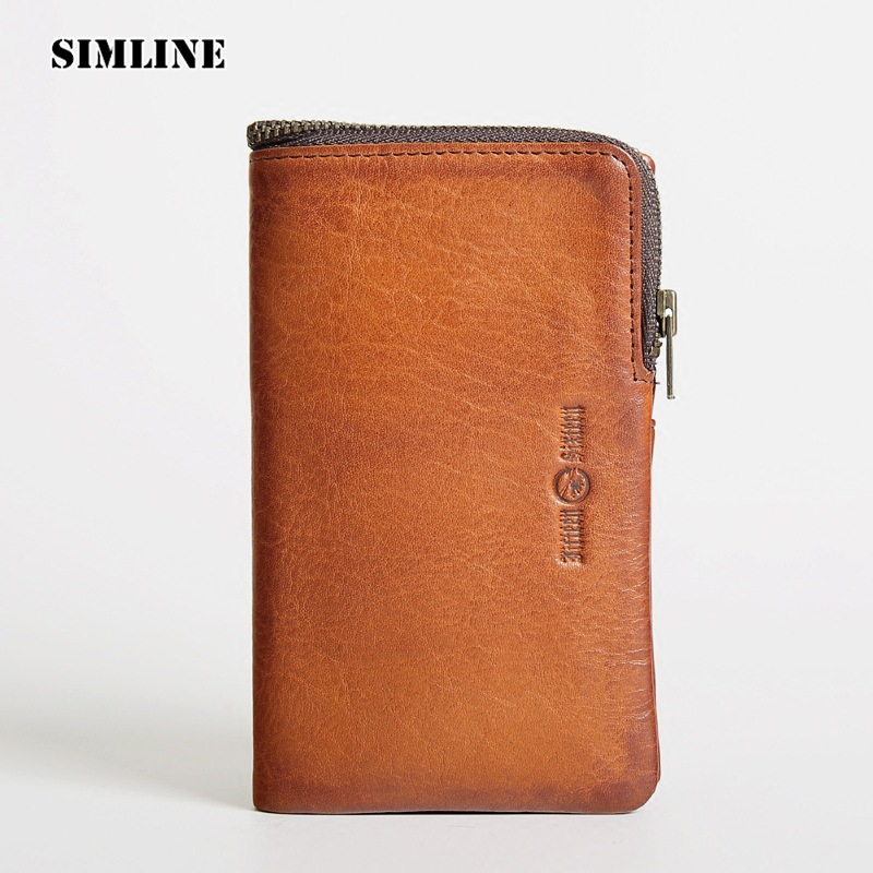 Luxury Brand Vintage Genuine Leather Men Men's Hasp Trifold Wallet Wallets Purse Card Holder Coin Pocket Zipper Male Carteira simline vintage genuine crazy horse cow leather men men s long hasp wallet wallets purse zipper coin pocket holder with chain