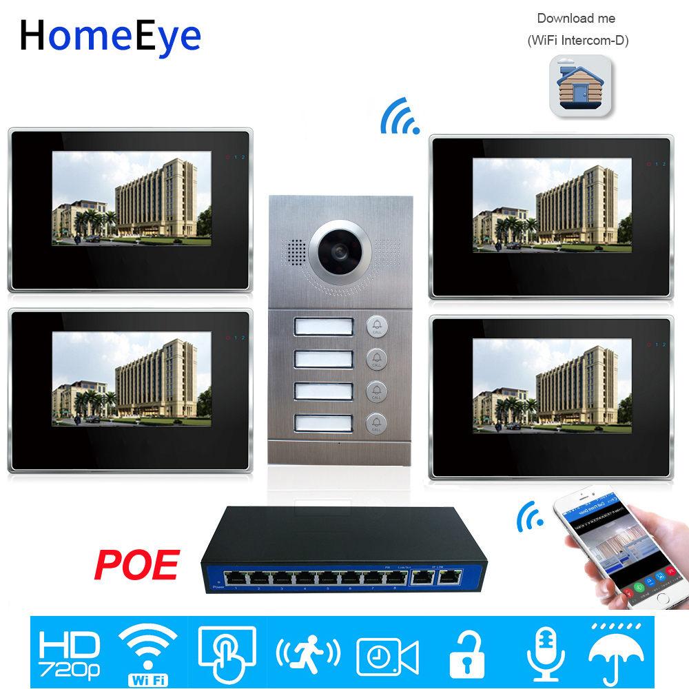 4-Family Door Access Control System 720P 7'' WiFi IP Video Door Phone Video Intercom IOS/Android APP Remote Unlock POE Supported