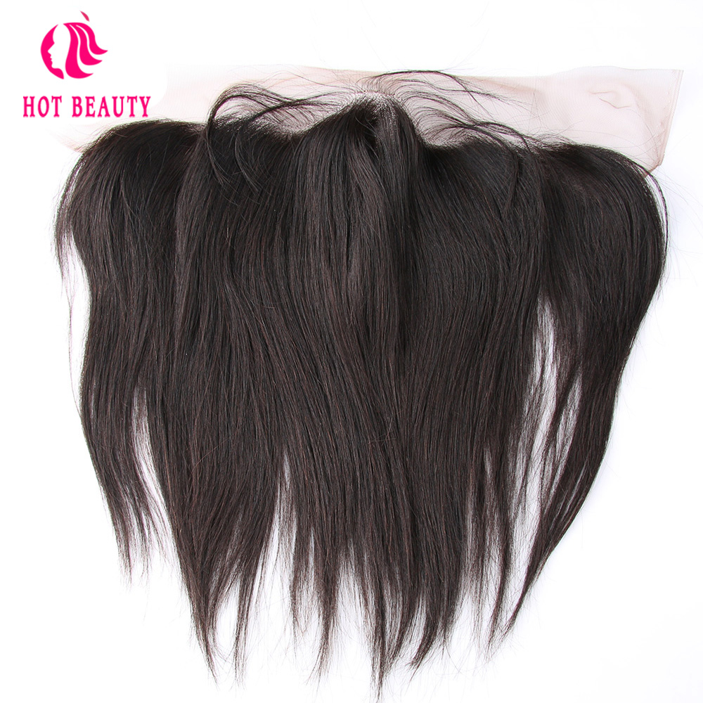 Hot Beauty Hair Frontal With Baby Hair Straight Brazilian Remy Hair Ear to Ear 13*4 Lace Frontal Pre Plucked 100% Human Hair