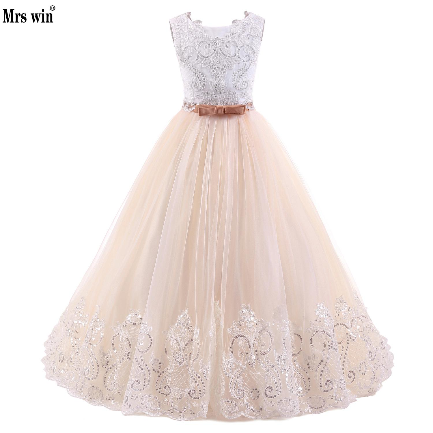 2018 Champagne Flower Girl Dress With Beige Ribbon Bow Crew Neck ...