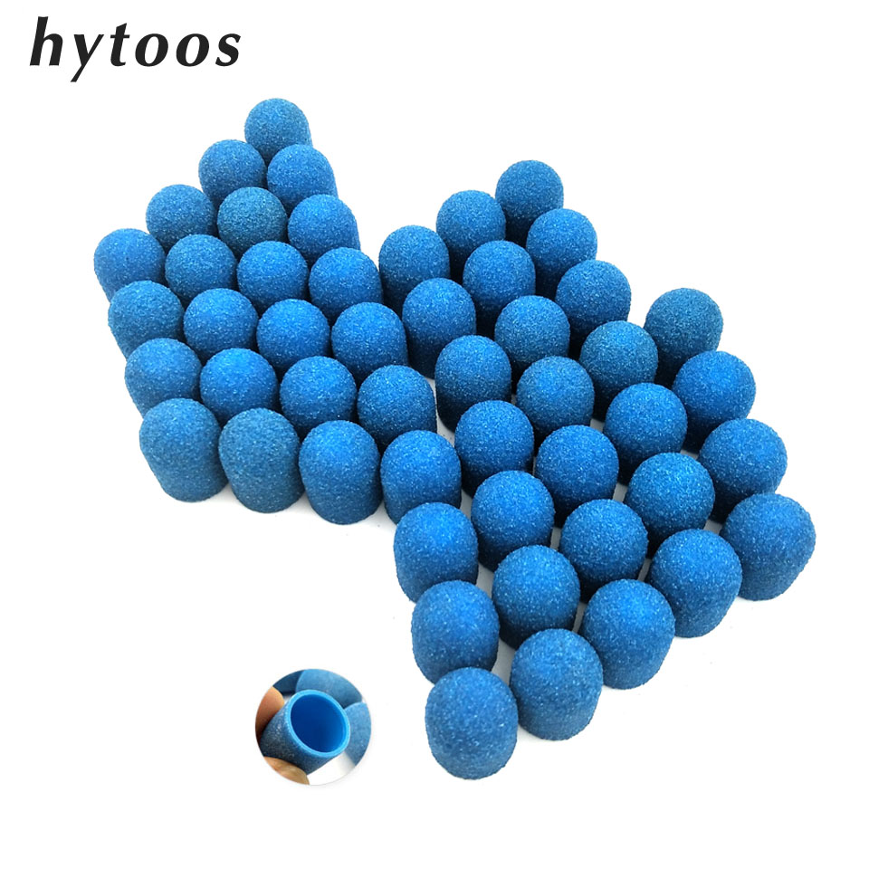 50Pcs 13*19mm Blue Plastic Base Sanding Caps With Rubber Grip Pedicure Polishing Sand Block Drill Accessories Foot File Tool