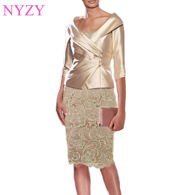 NYZY M1 Real Knee Length Dress Party Wedding Guest Wear With Jacket Bolero 2 Piece Champagne Mother Of The Bride Dresses 2019