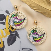 Round Straw Wicker Rattan Earrings Handmade Woven Wooden Earring for Women Unicorn Animal Printed Earing Trendy Jewellry 2019 цена