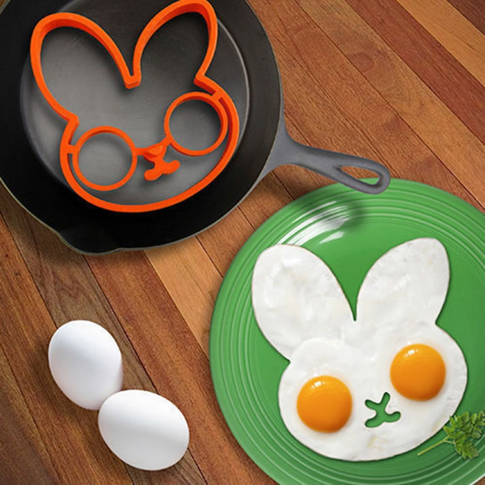 PREUP 2018 hot new clown head Rabbit shaped silicone egg mold omelet Creativ fried egg mold ring fry egg cooking molds