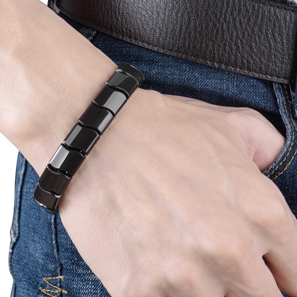 BYRIVER настоящие черные турмалиновые бусины браслет здоровья, натуральный минерал германий браслет, энергия отрицательных ионов ручной цепи для мужчин и женщин
