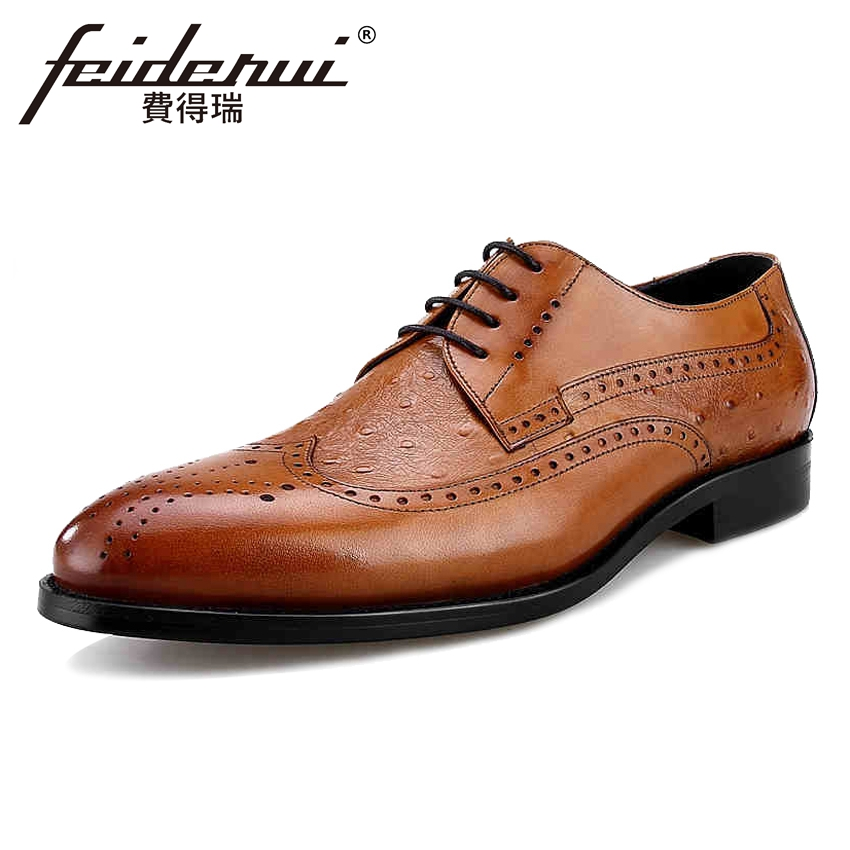 Genuine Leather Men's Handmade Wingtip Oxfords Formal Dress Round Toe Man Office Flats British Designer Male Brogue Shoes BQL30 krusdan british style vintage man brogue shoes genuine leather handmade oxfords round toe derby formal dress men s flats nk63