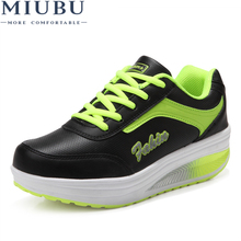 MIUBU Women Shoes Winter Style Lady Wedge Swing Tenis Feminino Leather Zapatillas Deportivas Mujer Casual