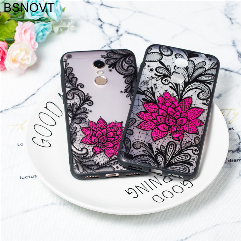 For Xiaomi Redmi 5 Plus Case TPU +PC Lace Rose Flower Cover Funda BSNOVT