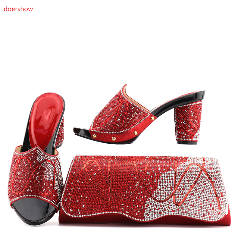 doershow African RED Shoe and Bag Set for Party In Women Matching Shoes and Bags for LADY Italian Shoe with Matching Bags!ZQ1-3 2016 spring and summer free shipping red new fashion design shoes african women print rt 3