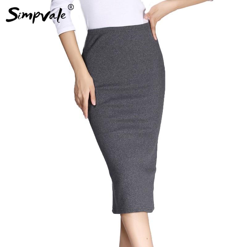 מוצק צבע מתוח סרוגה סרוגה חצאיות נשים - בגדי נשים