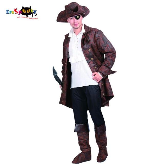 Carnaval Homens Piratas do Caribe Jack Capitão Buccaneer Costume Adult  Halloween Fancy Dress Partido Cosplay Trajes ef42871310d