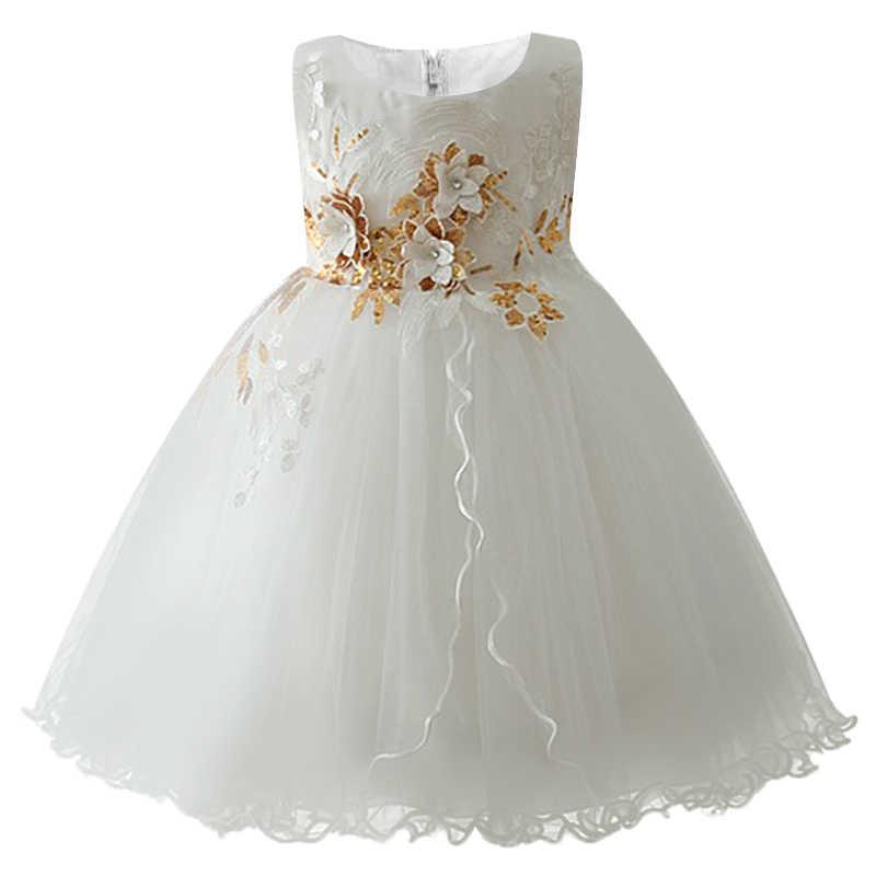 d0a037ebe ... Girls New Birthday Romantic Dress Children Baby Sweet Flower Girl Dress  Applique Princess Puffy Dress Childrens ...
