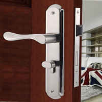 Meticulous Consise Brushed Interior Door Lock with Keys Zinc Alloy Handle Double Bolt Silent Lockset Suitable For Various Doors