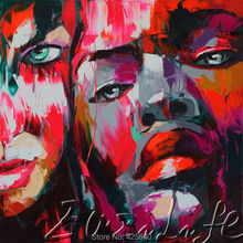 Palette knife portrait Face Oil painting christmas figure canva Hand painted Francoise Nielly wall Art picture39
