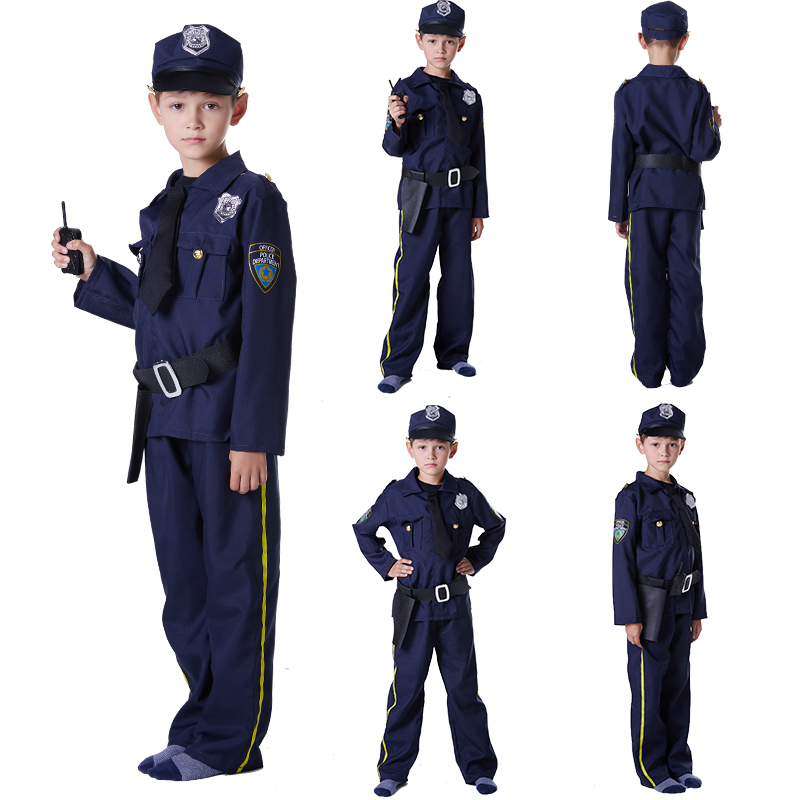 Children's Halloween Costumes Fantasia Boys police policeman Costumes Kids policeman Cosplay game uniforms hat