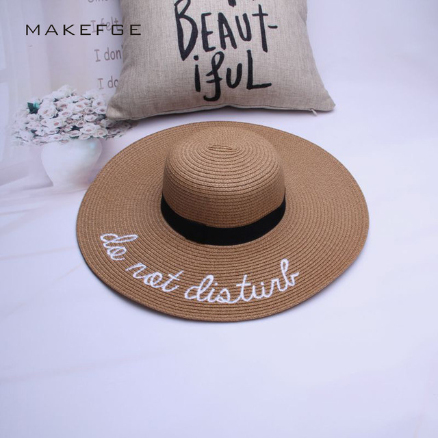 d043daba3e8 2018 Summer Large Brim Sun Hats For Women Fashion Sequins Letter do not  disturb Embroidery Folded Floppy Hat Bohemia Beach Ca