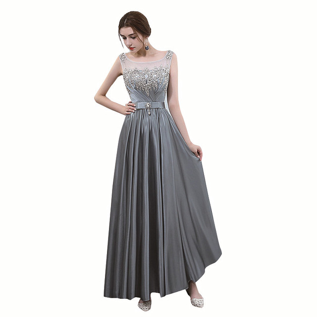 SSYFashion New The Banquet Elegant Evening Dress Grey Sequins and Crystal  Floor-length Prom Party Formal Gown Vestido De Festa ed55e4a98