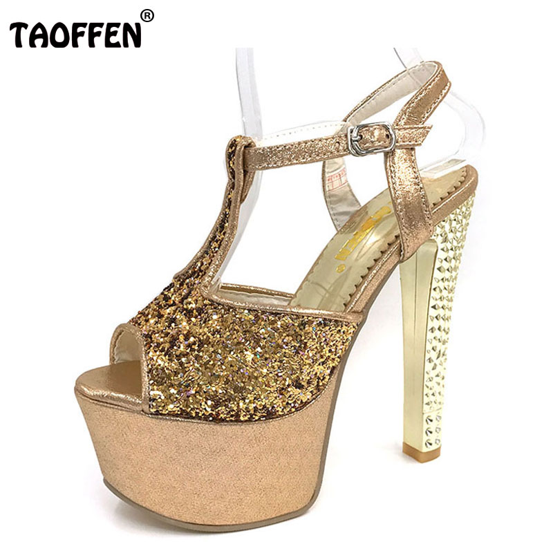 TAOFFEN women stiletto ankle strap platform high heel sandals brand sexy ladies heeled footwear heels shoes size 33-40 P17657 цена