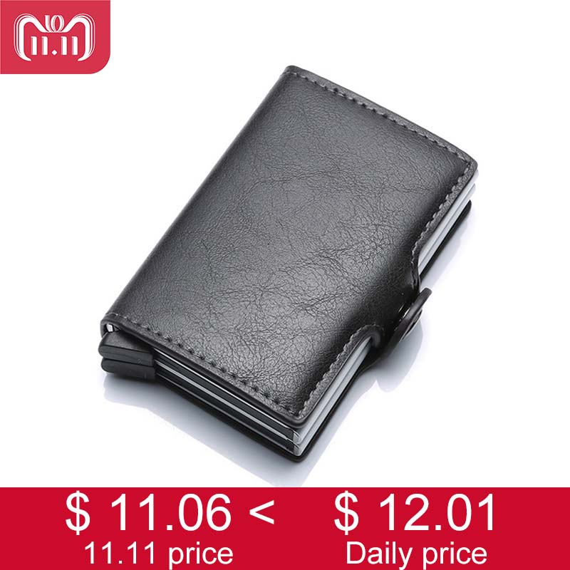 2 Box Anti Rfid Protection Men Women Slim Mini Wallet for Credit Card Holder Pu Leather Aluminum Business id Card Case Ukraine stylish alligator pattern portable pu leather aluminum alloy magnet business card case brown