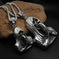 Cool Punk Rock Skull Pendants Necklace Men's Titanium Steel Jewelry Vintage Necklaces Silver Color Link Chain