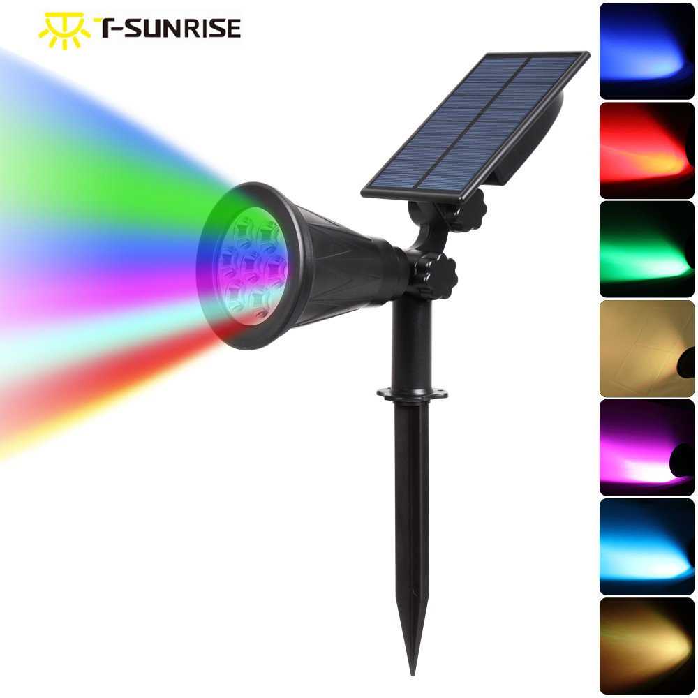 T-SUN 7 LED Auto Color-Changing Solar Spotlight Outdoor Lighting Solar Powered Security Landscape Wall Light For Outdoor Garden