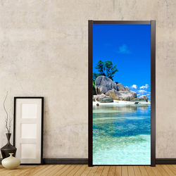 Piękne nadmorski krajobraz naklejki na drzwi pcv samoprzylepne wodoodporne naklejki ścienne salon łazienka tapety Home drzwi wklej