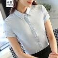 2016 Nova moda feminina manga Curta chiffon camisa OL elegante escritório ladies trabalho desgaste formal das mulheres plus size blusa branca topos