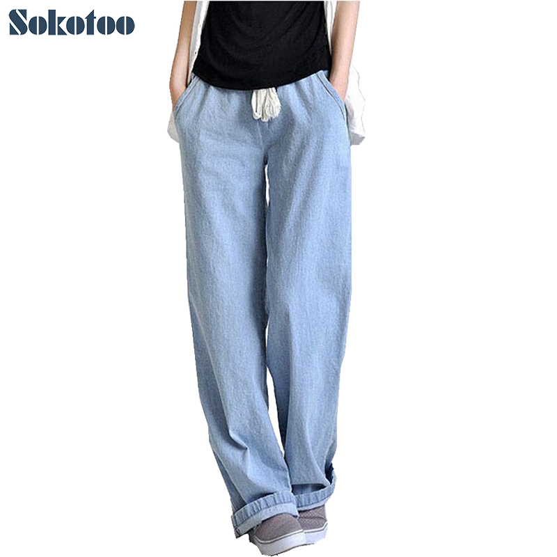 Sokotoo Plus size comfortable loose wide leg pants women's straight jeans elastic waist full length trousers Free shipping 2017 leijijeans jeans women mid elastic dark blue plus size jeans with embroidery pants full length loose style straight fat mm