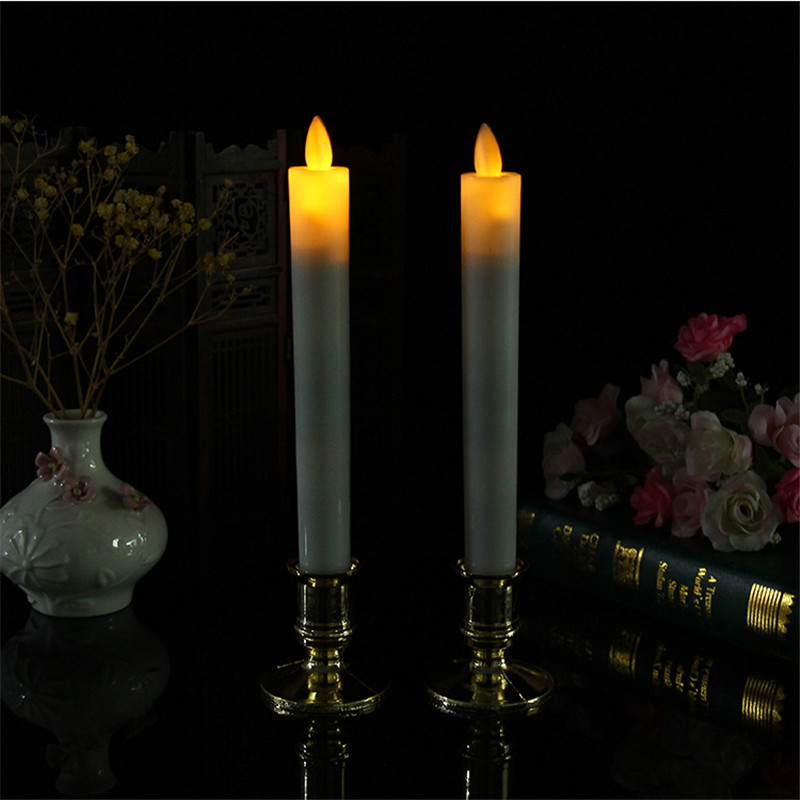 Pack of 2 Amber Restaurant dinner table candle light flameless LED electronic tappered candle with dancing flame,wedding candles