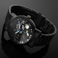 Men S Watch Mechanical Watch Black Steel Brand Hollow Skeleton Dial Wristwatches