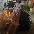 Abiye Gece Elbisesi 2017 Sexy Profundo Decote Em V Vestidos de Champanhe À Noite Ver-Through Vestido Até O Chão Baile com Branco Appliqued