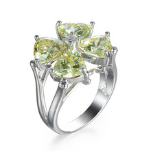 Light Green Four leaves Clover CZ Zircon 925 jewelry rings for women 2019 new fashion wedding love Free shipping