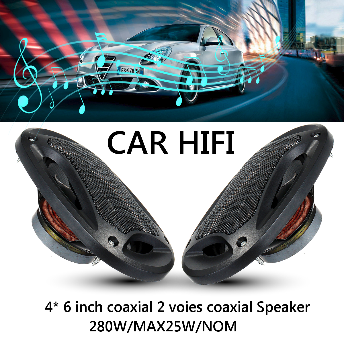 2pcs 4x6 inch 280W 2 Way Car Speaker and Subwoofer HIFI Speaker Car Rear / Front Door Audio Music Stereo Coxial Speakers System Coaxial speakers     - title=