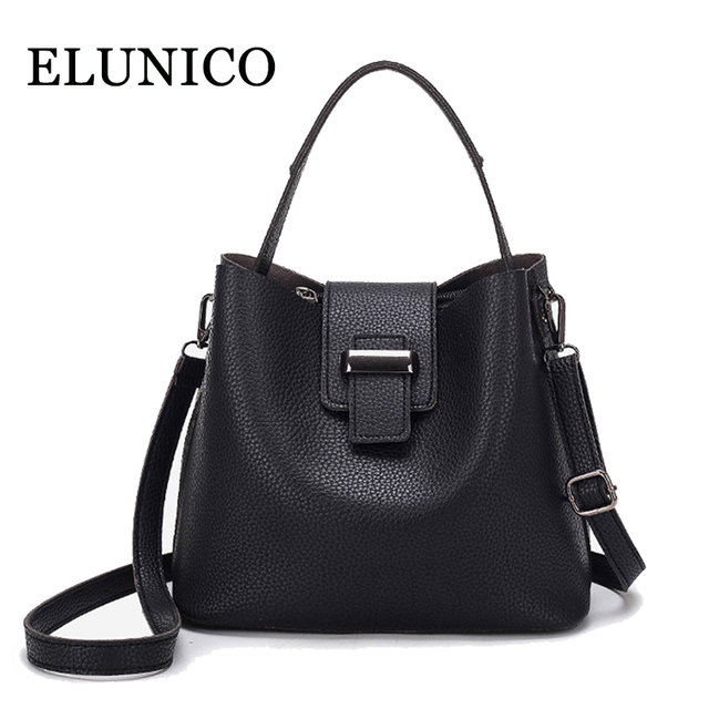 ELUNICO 2018 Spring Leather Fashion Female Messenger Shoulder Bag Ladies  Small Tote Bags Handbags Women Famous a08d4bce91cac