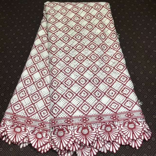 5 Yard African Imported Lace Fabric With Rhinestones Pagne Textile Fabric Africa For Wedding Dress Fabric French Lace Material