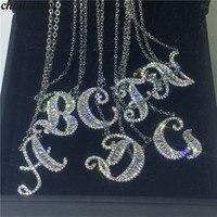 Choucong ручной работы 26 подвески-буквы Pave AAAAA Cz 925 пробы Серебряный Свадебный кулон ожерелье для женщин Свадебные вечерние ювелирные изделия