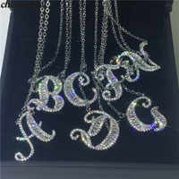 choucong Handmade 26 Letters Pendants Pave AAAAA Cz 925 Sterling silver Wedding Pendant Necklace for Women Bridal Party jewelry