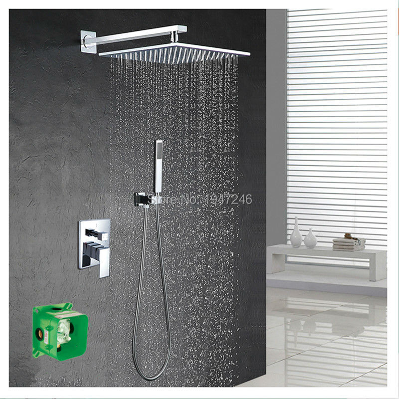 Luxury Polished 10 Square Style Rainfall Waterfall Embedded Box Shower Set Faucet Wall Mounted With Handshower Mixer Set free shipping polished chrome finish new wall mounted waterfall bathroom bathtub handheld shower tap mixer faucet yt 5333