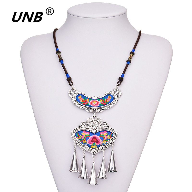2017 Bohemian Ethnic Embroidery Necklace Embroidered Big Flower Charm Choker Statement Necklaces Indian Jewelry For Women Gift